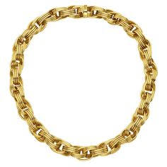 """Tiffany & Co. Gold Reeded Link Necklace. Link necklace, composed of interlocking 3-row reeded links in 18k yellow gold, signed Tiffany & Co. Just over 16"""" long and 0.47"""" width. 116 grams total weight. Late 20th century"""