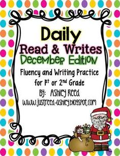 DECEMBER READ AND WRITES {FLUENCY PASSAGES AND WRITING PROMPTS} - TeachersPayTeachers.com
