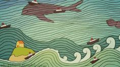 Scene from opening credits of Ponyo - would make great wall mural