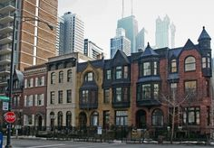 Townhouses on Division Street at the beginning of Astor Street, Gold Coast, Chicago IL