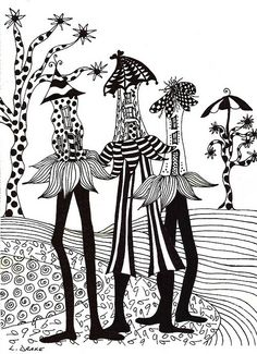 WALKING BUNGALOWS by Linda Drake, via Flickr. Love Linda's humor in her subject choices. More whimsical designs here