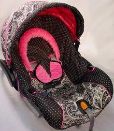 Custom Boutique Black Paisley Polka Dot Hot Pink Infant Car Seat Cover. I need this! Sooo cute :)