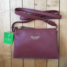 ❤️Maroon❤️ Kate Spade Crossbody NWT Kate Spade Crossbody. Beautiful maroon color. Perfect size for running errands or going out :) kate spade Bags Crossbody Bags
