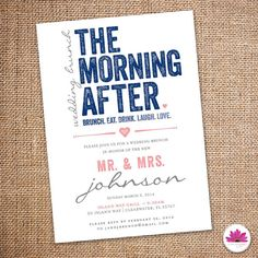 The Morning After - Wedding Brunch Invitation 5 X 7  (Digital file)