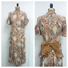 1930s 1940s Floral Novelty Print Gown 30s 40s on Etsy, $298.00
