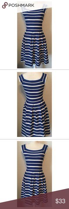 Max Studio Sundress Blue with white trim cotton Sundress. In great condition. No issues. Max Studio Dresses Midi