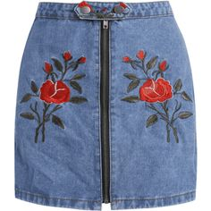 Flower Embroidered Plus Size Denim Skirt ($20) ❤ liked on Polyvore featuring skirts, blue denim skirt, plus size knee length skirts, denim skirts, plus size skirts and womens plus size skirts