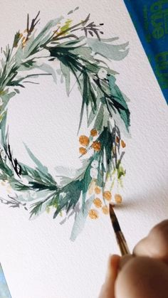 Gold Gouache Gold Gouache Tez tezlei Aquarell Adding gold details to this holiday wreath by leahbischstudio christmas holidaydecor watercolor gouache painting workinprogress nbsp hellip Painted Christmas Cards, Watercolor Christmas Cards, Christmas Drawing, Diy Christmas Cards, Christmas Paintings, Watercolor Cards, Xmas Cards, Christmas Crafts, Simple Watercolor