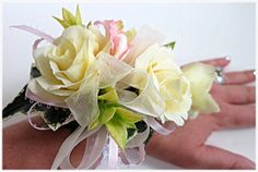 Faux Corsage - Wedding Corsage - Anniversary Corsage - Prom Corsage - Mother's Day Corsage - Pale Yellow Roses/Pink-Yellow Delphinium