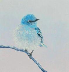 Bird painting Etsy Art Bluebird painting bird art by JanMats Nature Artwork, Bird Artwork, Nursery Paintings, Watercolor Paintings, Artwork Paintings, Watercolours, Black Bird Tattoo, Pictures To Paint, Landscape Art