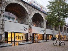 Im Viadukt, Zurich. Corridor of 46 boutiques & restaurants tucked under arches of an elevated rail line.