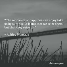 """The moments of happiness we enjoy take us by surprise. It is not that we seize them, but that they seize us.""   - Ashley Montagu"