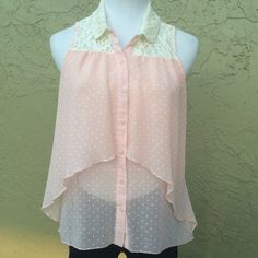 Adorable Light Pink Polkadot Button Down with Lace Adorable Light Pink Polkadot Button Down with Lace Size XS NWOT HeartSoul Tops