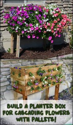 Bring More Colour To Your Garden By Building This Easy Pallet Planter Box  For Cascading Flowers