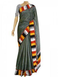 Grey Sabya Silk Saree With Ikat Border And Blouse