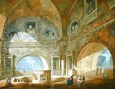 Interior of a mausoleum, 1772 by Charles-Louis Clerisseau