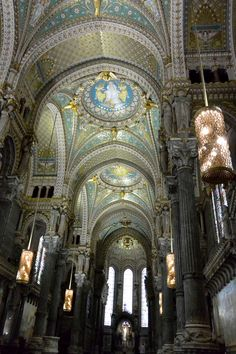 Sometimes all that glitters, really is gold.  Notre-Dame de Fourviere, bedecked with opulent, glittery gold mosaics, is a perfect example in Lyon, France.