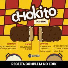Infográfico receita de Chokito caseiro, uma receita bem semelhante ao original e muito saborosa para quem é fã desse chocolate vai gostar bastante. Ingredientes: leite condensado, açúcar, manteiga, bicarbonato de sódio, sal, flocos de arroz e chocolate.