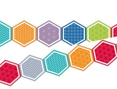 Colour Hexagons Border Classroom Borders, Classroom Displays, Hexagons, School Classroom, Colour, Prints, Color, Colors, Printmaking