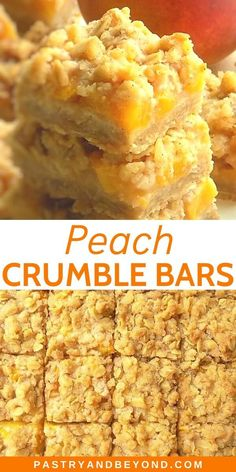 Peach Crumble Bars-These peach bars are crunchy, soft and slightly chewy. You'll need the same dough for the crust and the topping to make these delicious peach oatmeal bars. Recipe For Peach Crumble, Peach Crumble Bars, Crumble Topping, Can Peaches Recipes, Sweet Recipes, Delicious Desserts, Dessert Recipes, Yummy Food, Bar Recipes