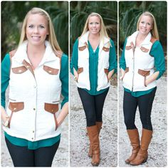 Alli Nicole Boutique - Fall For You Puffer Vest, $36.00 (http://www.allinicoleboutique.com/fall-for-you-puffer-vest/) #puffer #vest #cognac #fall #fashion #clothing #outerwear #cardigan #faux #leather #ivory #boots #jeggings