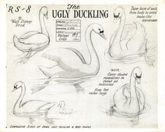 Model sheets for the 1939 Disney short, The Ugly Duckling. It won an Oscar, and was the last of the Silly Symphonies.