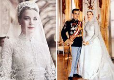 Grace Kelly's wedding dress at her 1956 wedding to Prince Rainier, was designed by MGM seamstress Helen Rose. The high-neck gown had long-sleeves and was made of 125-year-old Brussels rose point lace.