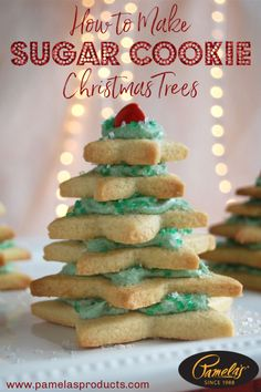 These adorable gluten free Christmas tree sugar cookies come together in a snap! Whip up a batch of cookies using Pamela's sugar cookie mix, cut out c. Amish Sugar Cookies, Gluten Free Sugar Cookies, Sugar Cookies Recipe, Cookie Recipes, Paleo Recipes, Christmas Tree Sugar Cookie Recipe, Gluten Free Christmas Cookies, Xmas Cookies, Best Gluten Free Desserts