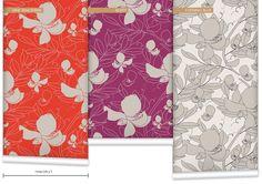 'Broadbean' (Wallpaper). Product Code: WR0383LA. Colourways: Vine Tangerine / Berry / Evening Blue #wallpaper #design #broadbean #leeandallan #contemporary