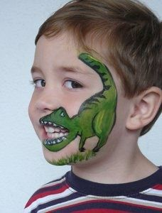 Dinosaur face painting (doesnt go with the theme but my kid LOVES dinosaurs)