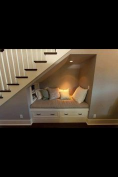 under stairs reading nook. Man my home is gonna be filled with reading nooks all… under stairs reading nook. Space Under Stairs, Under The Stairs, Under Basement Stairs, Under Staircase Ideas, Under Stairs Dog House, Basement Stairway, Sweet Home, Diy Casa, Cozy Nook