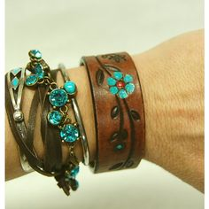 Leather Cuff Bracelet, Painted Leather Bracelet, Western Jewelry, Boho... ($18) ❤ liked on Polyvore