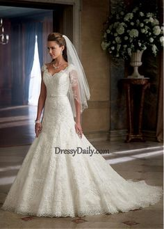 Stunning Tulle & Satin A-line V-neck Neckline Wedding Dress With Beadings & Lace Appliques - Wedding Dresses - Weddings