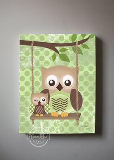 Owl Decor Boys wall art - OWL canvas art, Baby Nursery Owl with Swing 10x12  woodland whimsical nursery art. $51.00, via Etsy.