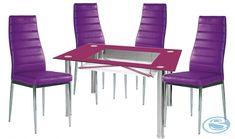 Jídelní sestava New York 1+4 fialová – FALCO Moderní jídelní souprava skládající se ze 4 židlí a skleněného jídelního stolu. Tento cenově výhodný set je vhodný do jídelen, kuchyní i jídelních koutů. Moderní skleněný stůl … Dining Sets, Dining Chairs, New York, Furniture, Home Decor, Dinner Sets, New York City, Decoration Home, Dining Room Furniture