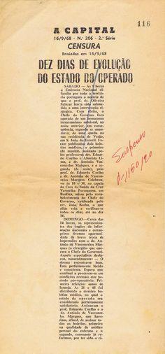 ARQUIVO DA CENSURA – A CAPITAL – PROVAS CENSURADAS DE ARTIGOS (1968)   EPHEMERA