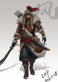 Has always been very fond of Mongolia culture, love the tenacity of the Mongolian People's attitude, generous personality. Medieval Fantasy, Dark Fantasy, Fantasy Art, Character Concept, Character Art, Character Design, Vikings, Genghis Khan, Drawing Projects