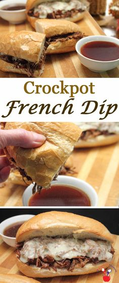 Crockpot French Dip takes little prep and makes the most delicious, tender beefy sandwiches. Pile high on a hard roll, top with cheese then dip. via @2CookinMamas