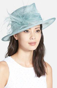 Womens August Hat Downbrim Straw Hat - Blue $128.00 AT vintagedancer.com