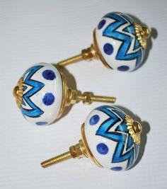Set of Three Decorative Blue & White Ceramic Starburst Knobs with Hardware