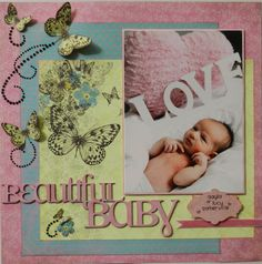 Pretty girl scrapbook page using Kaisercraft papers by Purple Hedgehog. Scrapbook Page Layouts, Scrapbooking Ideas, Wedding Scrapbook Pages, Baby Girl Scrapbook, Ink Stamps, Pink Butterfly, Photo Tips, Photography Tips, Flags