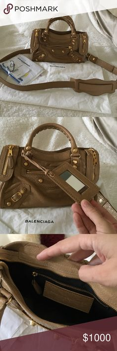 Balenciaga Arena Giant Mini City in Nougatine Beautiful bag!! Purchased in 2014. Warm beige leather and gold hardware. Balenciaga calls the color Nougatine. Worn about 20 times. Handles have not darkened or pealed. Picture of corners shows light wear. The top left corner is slightly discolored from jean rubbing I believe. None of the other corners have color transfer wear. Great mini bag and fits more that imagined. Fits an iPhone 6 Plus. Balenciaga Bags Mini Bags
