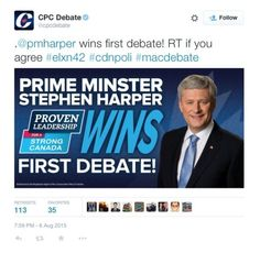 Harpers Team Declares Harper Debate Winner With Brutal Typo. Whether it's egomania or narcissism that gets the Reform Cons moving too quickly before using spell check doesn't matter at this point. Only a few notices mentioned Harper's so-called 'acclaim' during the debates. Most accolades went first to Elizabeth May! Harper was trailing like Trudeau & Mulcair. You're still not ready eh Harper!