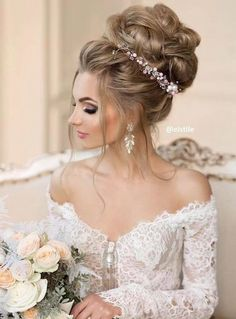 Featured Hairstyle: Elstile; http://www.elstile.ru; Wedding hairstyle idea.