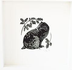 Badger, Linocut by Cally Conway   Artfinder