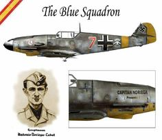 Art illustration - World War II - Spanish Blue Division Ww2 Aircraft, Fighter Aircraft, Military Aircraft, Luftwaffe, Heroes And Generals, Me 109, Aircraft Painting, Air Fighter, Airplane Art