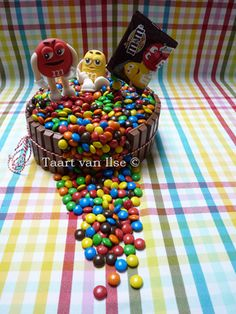 M&M's cake. Yellow and Red