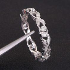 Full Eternity Art Deco .23ct Diamond 14K White Gold Wedding Band Engagement Ring