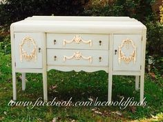 Beautiful waterfall painted dresser makeover in a French Country style