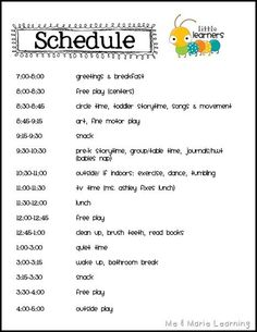 Schedule ideas for Day care at home.